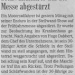 Don Strauss in der Freiburger Zeitung 2006 - Steilwandfahrer auf der Messe abgestürzt